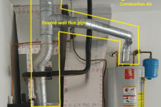 This is an example of two gas appliances (furnace and water heater) using a double wall flue pipe.